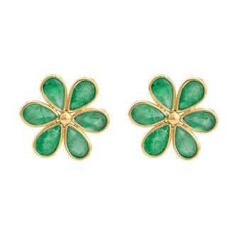 Regal Emerald & 18K Gold Stud Earrings