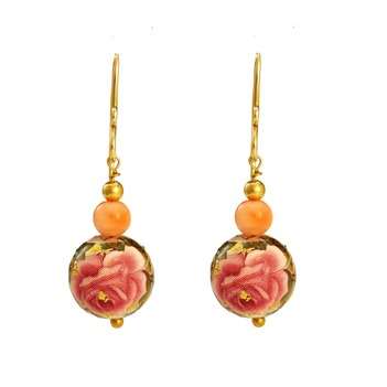 Artistic Printed Pearl & Coral Bead 18K Yellow Gold Danglers
