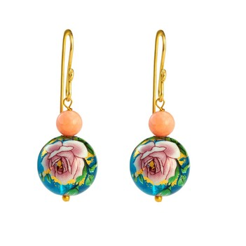 Stylish Printed Pearl & Coral Bead 18K Yellow Gold Danglers