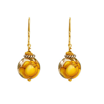 Picturesque Printed Pearl 18K Yellow Gold & 925 Sterling Silver Danglers