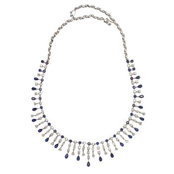 Scintillating White Gold, Diamonds & Blue Sapphires Necklace Set