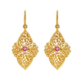 Statuesque 18K Yellow Gold & Ruby Filigree Danglers