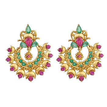 Spellbinding Gold, Rubies & Emeralds Earrings