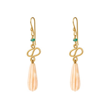 Exclusive Gold, Coral & Emerald Bead Earrings