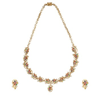 Debonair Navaratna Gemstones 22K Gold Necklace Set With Earrings