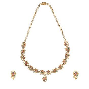 Debonair Navaratna Gemstones 22K Gold Necklace Set With Earrings