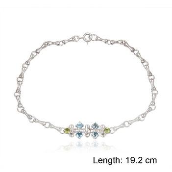 Crochet Blue Topaz & Peridot  925 Sterling Silver Bracelet