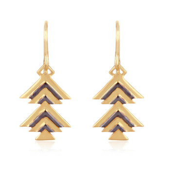 Chevron 925 Sterling Silver Drop Earrings