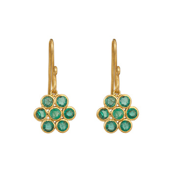 Dainty Gold & Emeralds Earrings