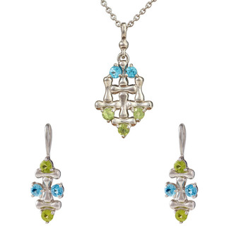 Knitted Blue Topaz & Peridot 925 Sterling Silver Pendant Set