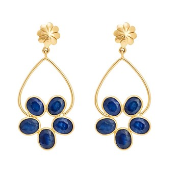 Electrifying Blue Sapphire & 18K Gold Earrings