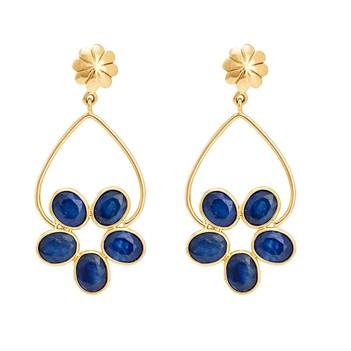 Electrifying Blue Sapphire & 18K Gold Earrings