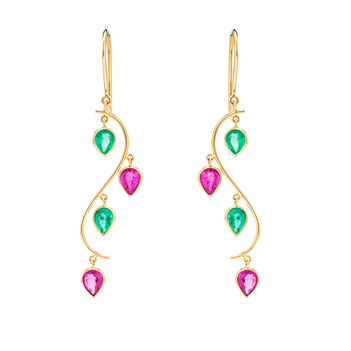 Graceful Ruby, Emerald & 18K Gold Danglers