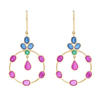 Vibrant Blue Sapphire , Emerald, Ruby 18K Gold Dangler Earrings