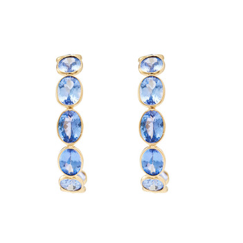 Quaint Tanzanite & 18K Gold Hoop Earrings