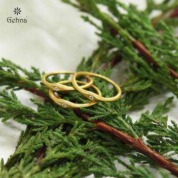 Magnetic Diamond & 18K Yellow Gold Stacking Rings