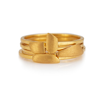 Whimsical 18K Yellow Gold Stacking Rings