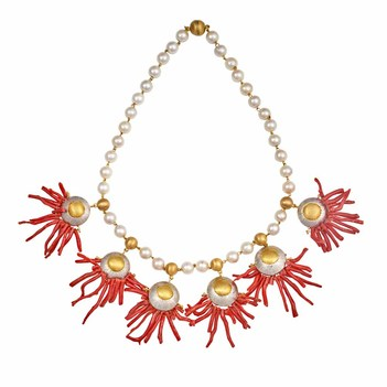 Breathtaking Coral Twigs & Pearls Gold Necklace and Earrings Set