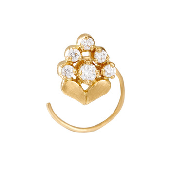 Charming 22K Yellow Gold and Diamond Nose pin