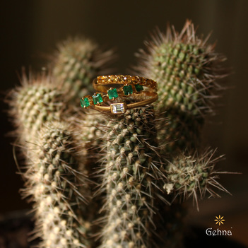 Vivid 18K Yellow Gold with Citrine, Emerald and Diamond Stacking Rings