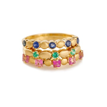 Vibrant 18K Yellow Gold with Tourmaline, Tsavorite, Blue Sapphire Stacking Rings