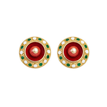 Charming Coral and Enamel 18k Gold Stud Earrings