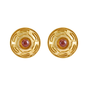 Handsome Garnet and 18k Gold Stud Earrings