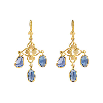 Angelic Blue Sapphire 18K Gold Danglers