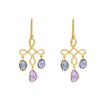 Beguiling Blue and Pink Sapphires 18K Gold Danglers