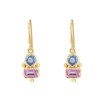 Impeccable Blue Sapphires & Pink Sapphires 18K Gold Danglers