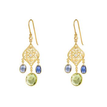 Enthralling Blue Sapphires, Peridot & White Rosecut Diamond 18K Gold Danglers