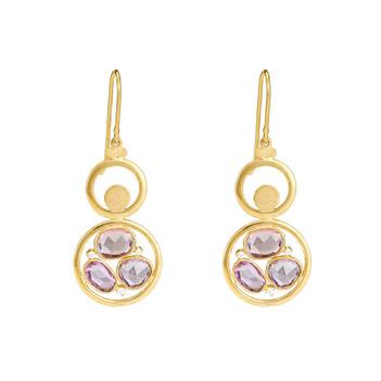 Mystic Pink Tourmalines & RBC Diamonds 18K Gold Danglers