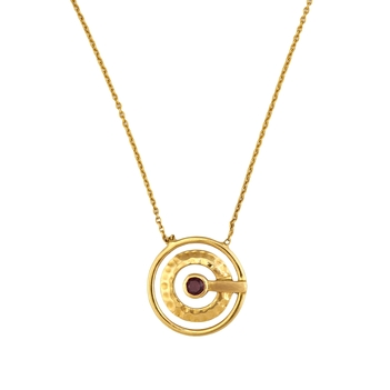 Spartan Garnet and 18K Gold Pendant with Chain