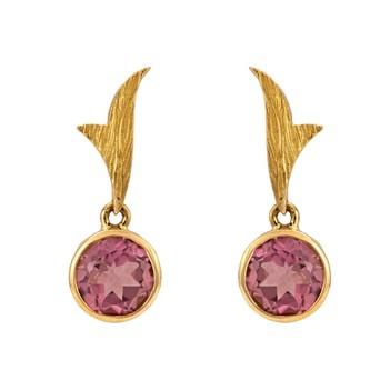 Winsome Tourmaline and Gold Earrings