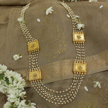 5 Row Pearl Mogappu Necklace 22K Gold