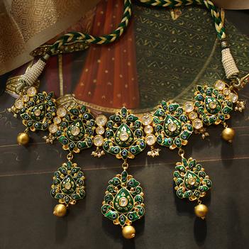 Green Enamel Necklace & Earring Set 22K Gold
