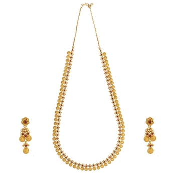 Lavish Ruby Kasu Maalai with Gold Earrings