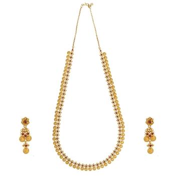 Lavish Ruby Kasu Maalai with Gold Earrings