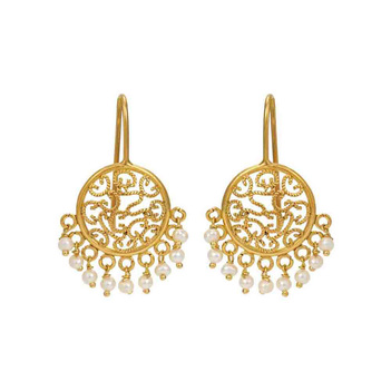 Peerless Gold and Pearl Filigree Earrings