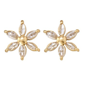 Radiant Rose Cut Diamonds and Gold Stud Earrings