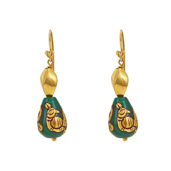 Regal Painted Bead Gold Earrings
