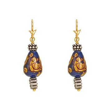 Paisley Painted Bead Silver and Gold Earrings