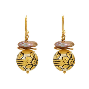 Blossomy Painted Bead 925 Silver and 18K Gold Dangle Earrings