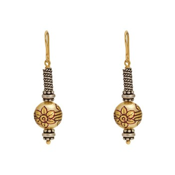 Floral Painted Bead 925 Silver and 18K Gold Dangle Earrings