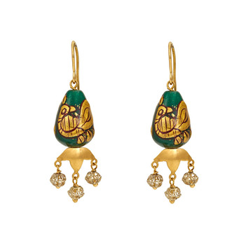 Peacock Painted Bead Silver and Gold Earrings