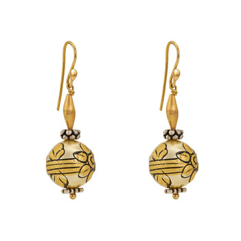 Blooming Painted Bead 925 Silver and 18K Gold Earrings