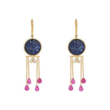 Motley Sapphire, Ruby, Diamond 18K Gold Danglers