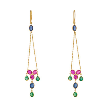 Kaleidoscopic Sapphire, Ruby, Emerald 18K Gold Earrings