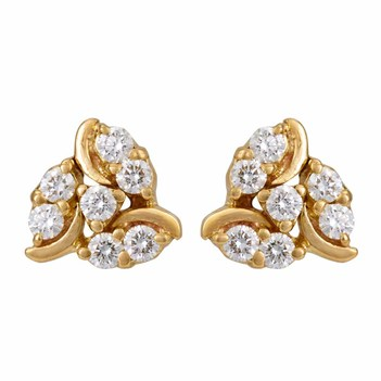 Radiant Diamond 18K Gold Stud Earrings