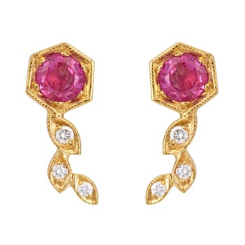 Structural Ruby, Diamond and 18K Gold Stud Earrings